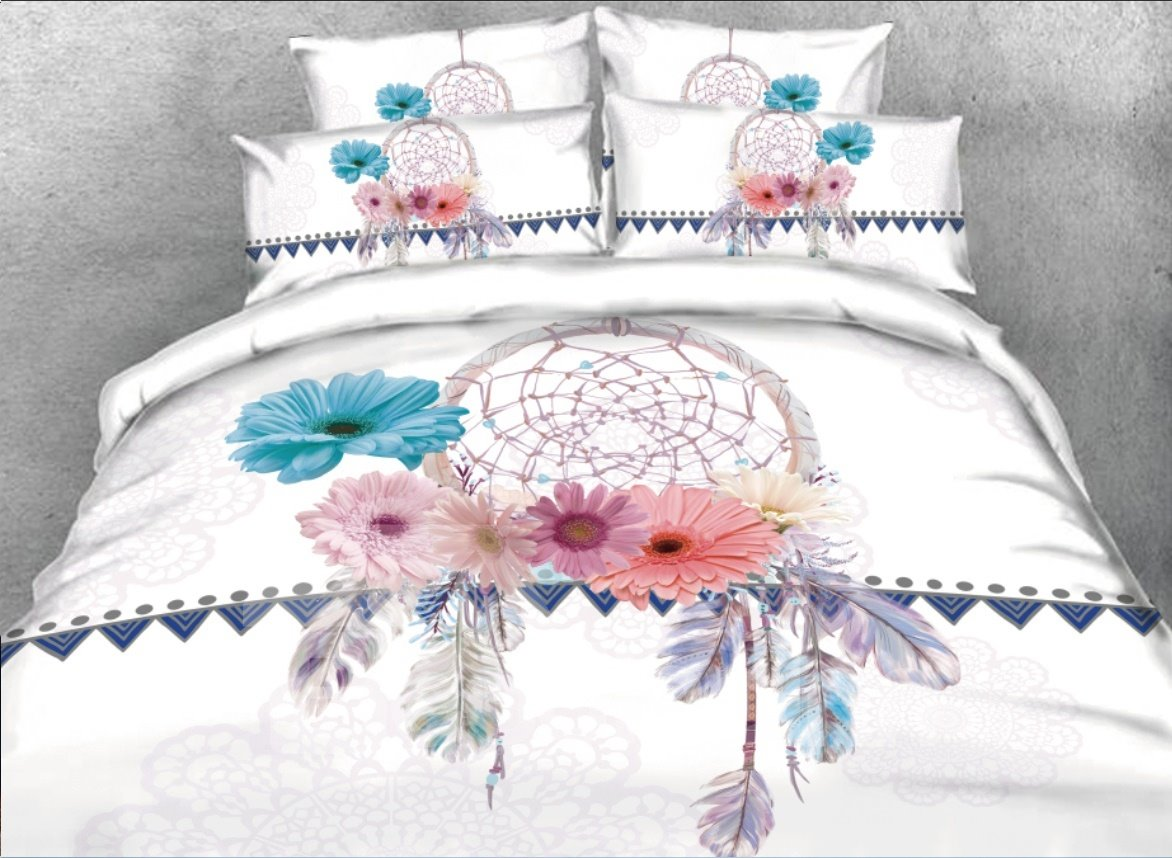 3d Dreamcatcher Daisy Printed 5 Piece Comforter Sets Pic