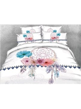 Onlwe 3D Dreamcatcher with Daisy Printed 5-Piece Comforter Sets
