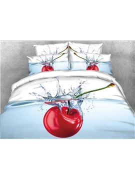 Onlwe 3D Cherry in the Water Printed 5-Piece Comforter Sets