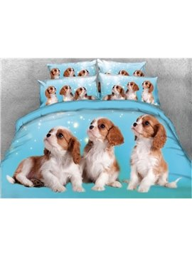 Onlwe 3D Puppies Printed 5-Piece Comforter Sets