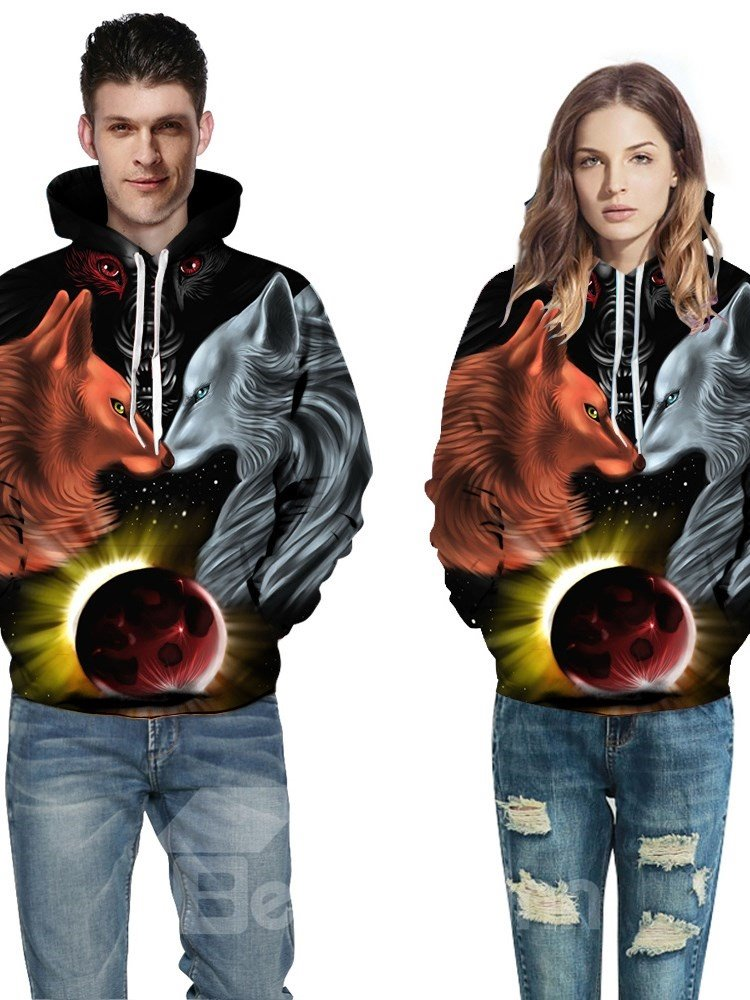 Unisex Funny Wolf Pullover Nice Design Vibrant Color 3D Painted Hoodie