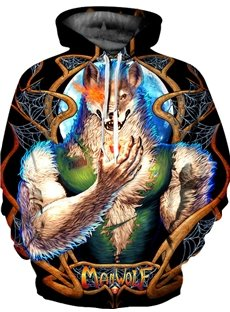 Pullover Loose Model Funny Wolf Unisex Workout 3D Painted Hoodie