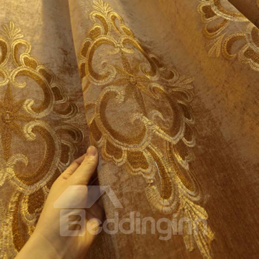 Gorgeous Style Luxury Goldern Pattern Shading Curtain