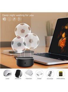 7 Colors Remote Control Three Football 3D Light LED Table Lamp Night Light/Lamp