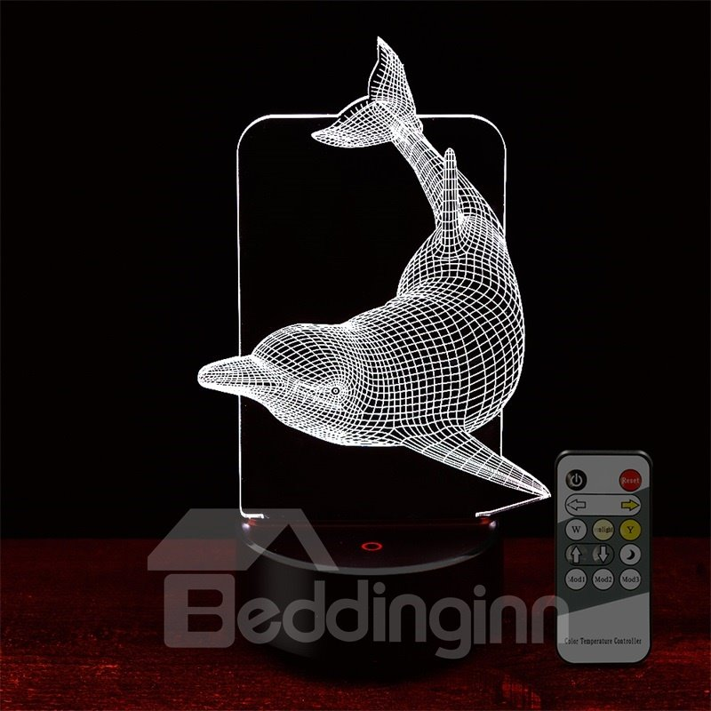 Remote Control 7 Colors 3D Dolphin LED Night Table Lamp