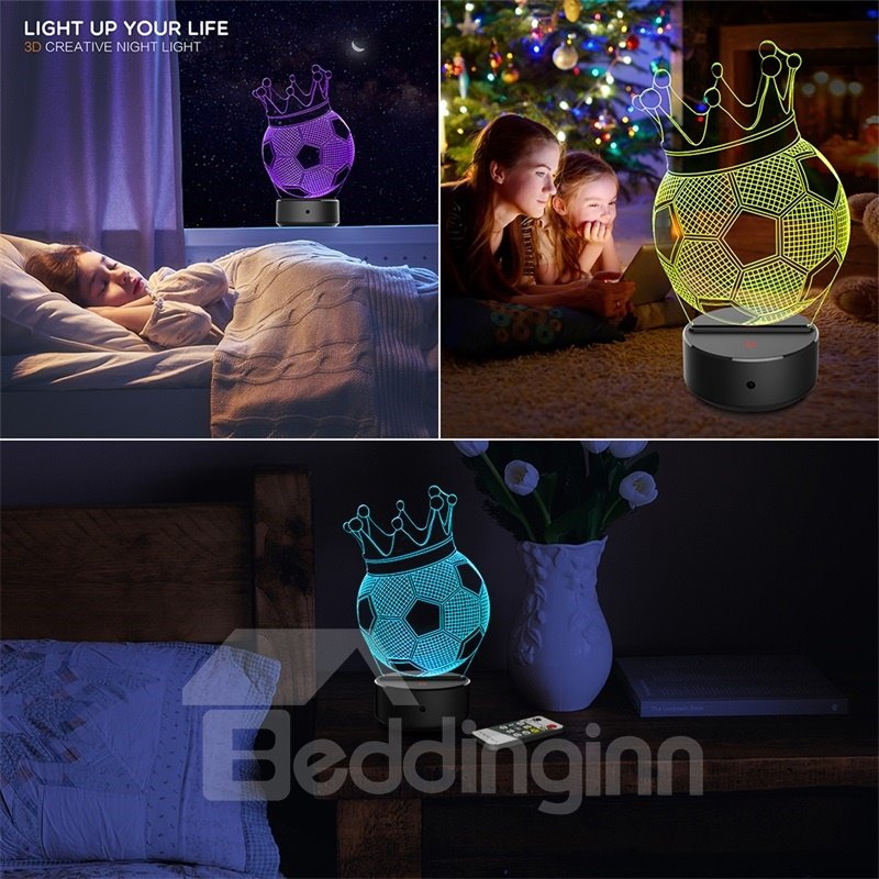 7 Colors Remote Control Football With Crown 3D Light LED Table Lamp Night Light/Lamp