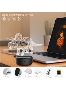 7 Colors Remote Control Triceratops 3D Light LED Table Lamp Night Light/Lamp