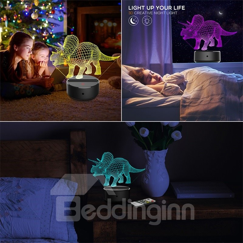7 Colors Remote Control 3D Triceratops Table Lamp USB Night Light