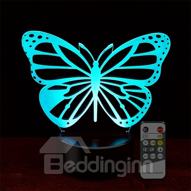 7 Colors Remote Control Butterfly 3D Light LED Table Lamp Night Light/Lamp