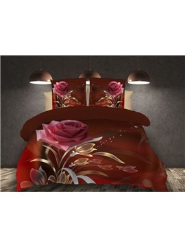 3D Red Rose Reactive Printing 4-Piece Polyester Duvet /Cover Sets