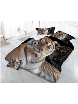 3D SittingTiger Printing 4-Piece Polyester Duvet /Cover Sets