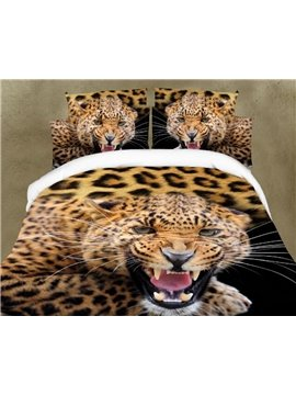 3D Leopard Open the Mouth Printing 4-Piece Polyester Duvet /Cover Sets