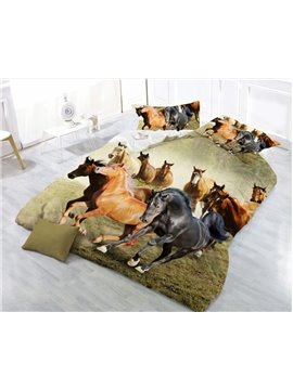 3D Running Horse Printing 4-Piece Polyester Duvet /Cover Sets