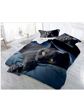 3D_Black_Cat_Printing_4Piece_Polyester_Bedding_SetsDuvet_Cover