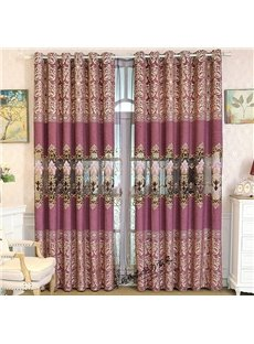 Purple Floral Pattern Palace Style Room Darkening Curtain