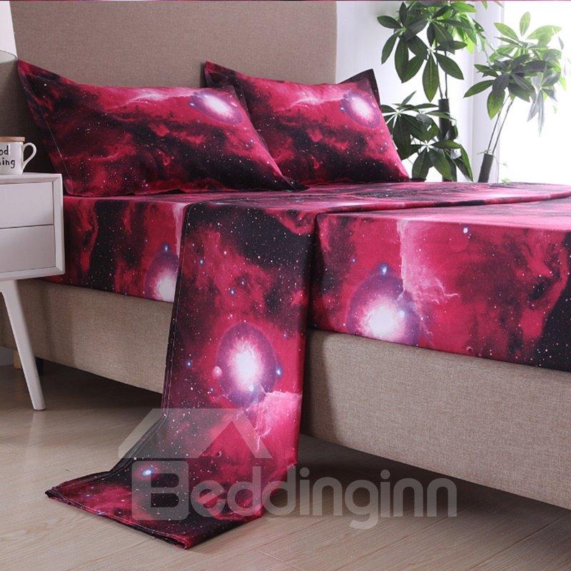 3D Red Shining Galaxy Printing Polyester Sheet Sets