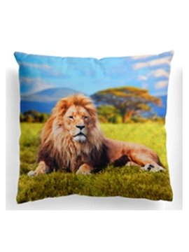 3D Lion Lying on the Grass Printing Throw Pillow Case