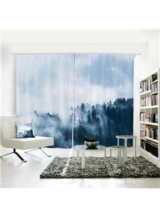 Dark Green Mountain White fog Pattern 3D Polyester Curtain