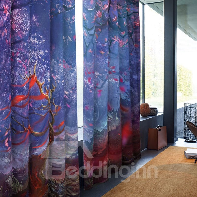 Red Floral Pattern Blue Background 3D Polyester Curtain