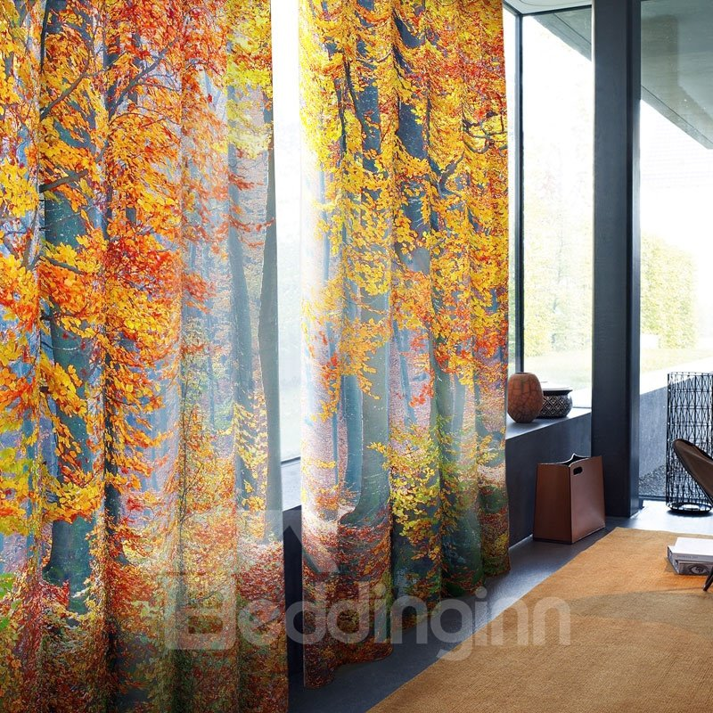 Golden Red Leaves Pattern 3D Polyester Curtain