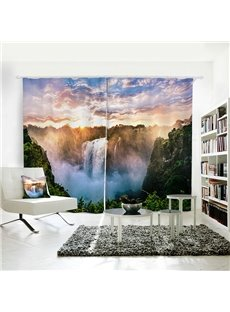 Colorful Sky Green Mountain White Waterfull 3D Polyester Curtain