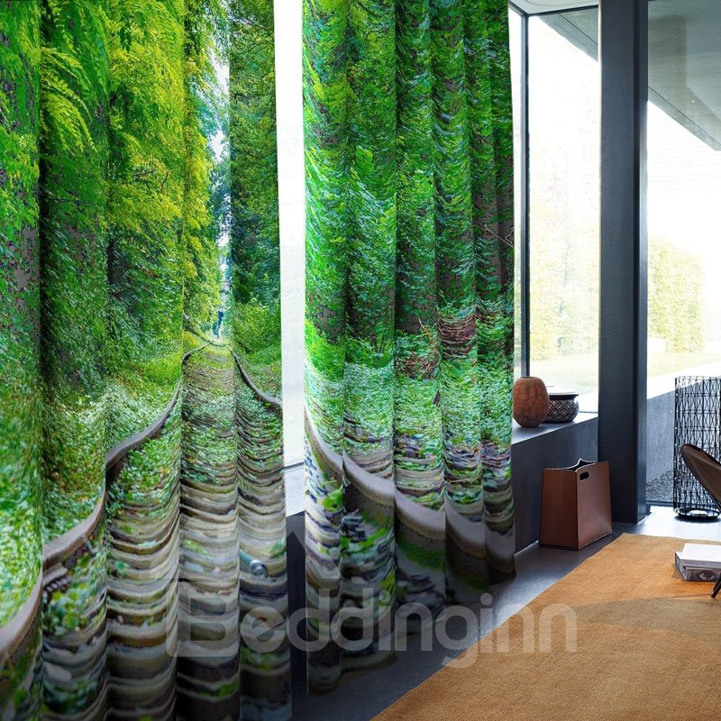 Green Lush Trees Trail Pattern 3D Polyester Curtain