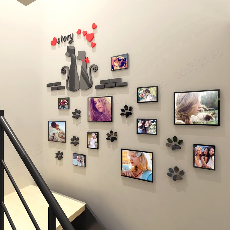 Cute Black Cat Pattern Family Photo Frame 3D Acrylic Wall Sticker