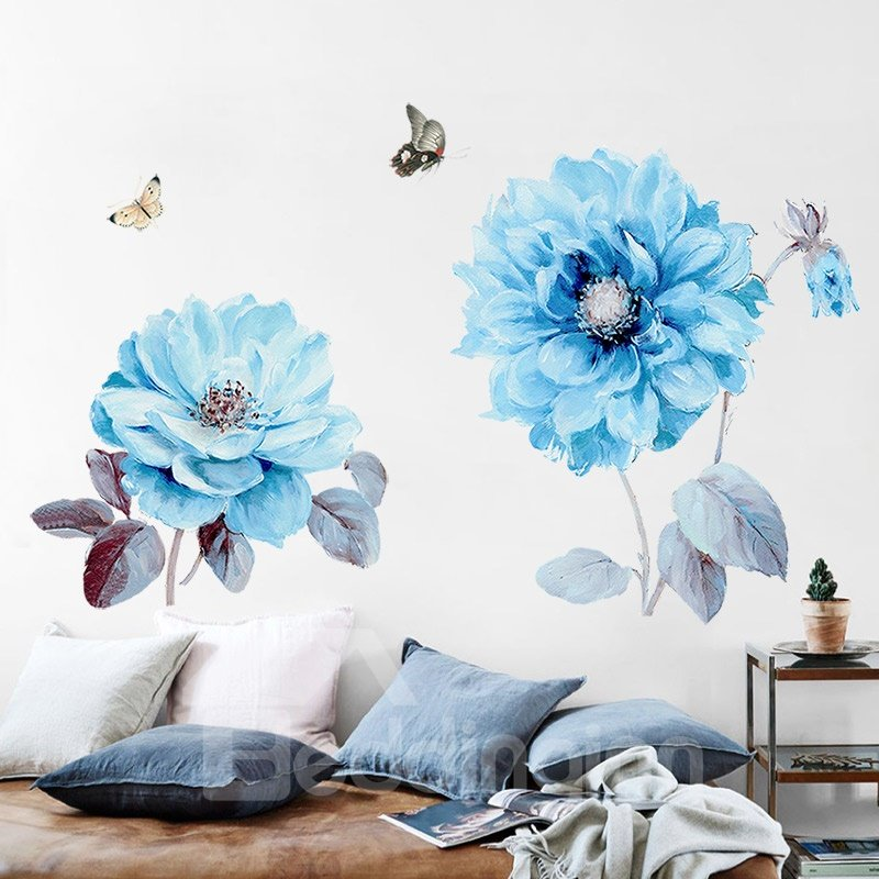 Waterproof | Bedding | Sticker | Flower | Stick | Decor | Room | Home | Blue | Wall | Bed | Big