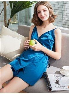 Blue Summer Sexy Spaghetti Strap Polyester Women's Bathrobe