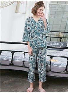 Blue Floral Pattern Regular-sleeved Women's Bathrobe Set