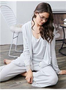 Leisure Style Lace Long Sleeve Women's Bathrobe Set
