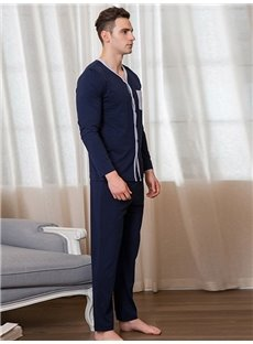 Dark Blue Cotton Long Sleeve V-Neck Male Bathrobe