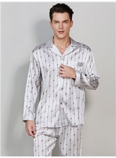 Silk Material Stripe Pattern High Quality Male Bathrobe