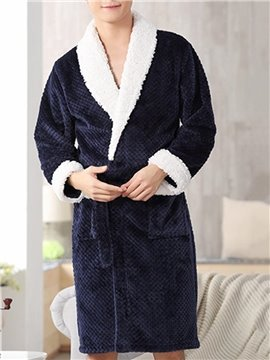 Thick Warm Lace-Up Long Sleeve Male Bathrobe