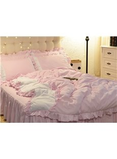 Pink And White Princess Style Girl 4-Piece Bedding Sets/Duvet Cover