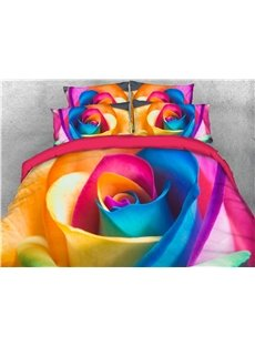 3D Colorful Rose Reactive Printing Cotton 4-Piece Bedding Sets/ Duvet Cover Sets