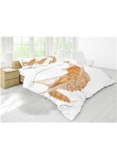 3D A Sleeping Cat White Printing Cotton 4-Piece Bedding Sets/ Duvet Cover Sets