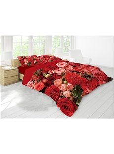 3D Red&Pink Flower Blooming Printing Luxury 4-Piece Cotton Bedding Sets/ Duvet Cover Sets