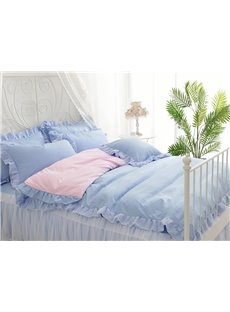 Blue And Pink Lace Simple Style Cotton Girl 4-Piece Bedding Sets/Duvet Cover