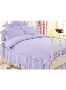 Graceful Purple Luxurious Princess Style Cotton 4-Piece Bedding Sets/Duvet Cover