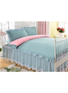 Green/White Simple Rural Style Lace Cotton Girl 4-Piece Bedding Sets/Duvet Cover