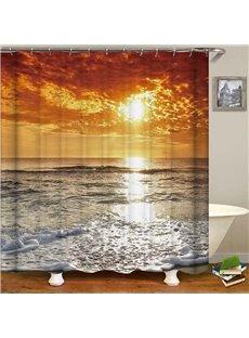 Goldern Sky Sunset Sea Waterproof Anti-Bacterial Shower Curtain