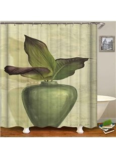 Anti-Bacterial Green Leaves Pattern Polyester Shower Curtain