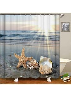 Blue Sea Yellow Starfish Waterproof Bathroom Curtain