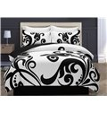 Black Floral Pattern White Printing Polyester 4-Piece Bedding Sets/Duvet Cover