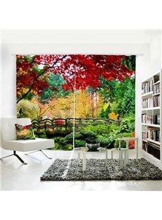 Plant Pattern Polyester Material Room Darkening 3D Curtain