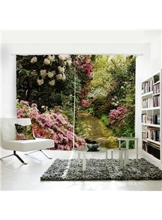 Red Flowers Green Leaves Decorative Polyester 3D Curtain