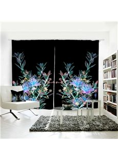 Shiny Blue Floral Pattern Room Darkening 3D Polyester Curtain