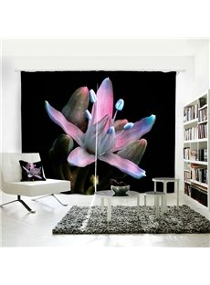 Purple & Blue Floral Pattern Room Darkening 3D Curtain