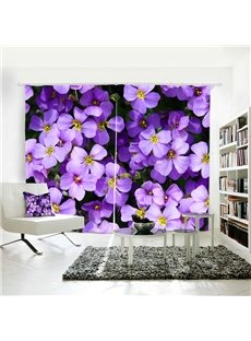 Purple Floral Pattern Polyester Room Darkening 3D Curtain